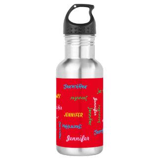 Botella de agua, personalizado, repitiendo nombre