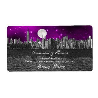 Botella de agua púrpura de la luna H de la silueta Etiquetas De Envío