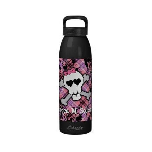 Botella de agua rosada linda del cráneo y del cora