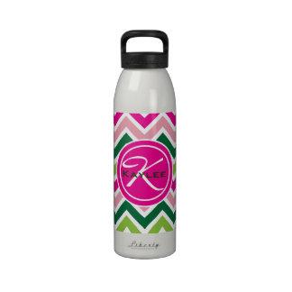Botella de agua rosada y verde de la primavera