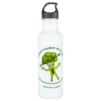 Botella de agua vegetariana divertida