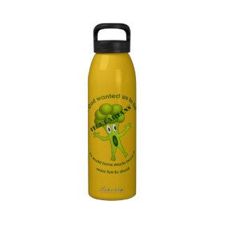 Botella de agua vegetariana divertida de la cita