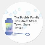 Botella de burbujas etiquetas redondas
