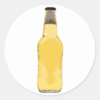 Botella de cerveza pegatinas redondas