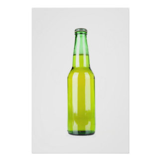 Botella de cerveza verde póster