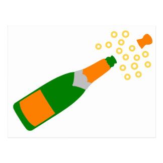 Botella de Champán y corcho que hace estallar Postal