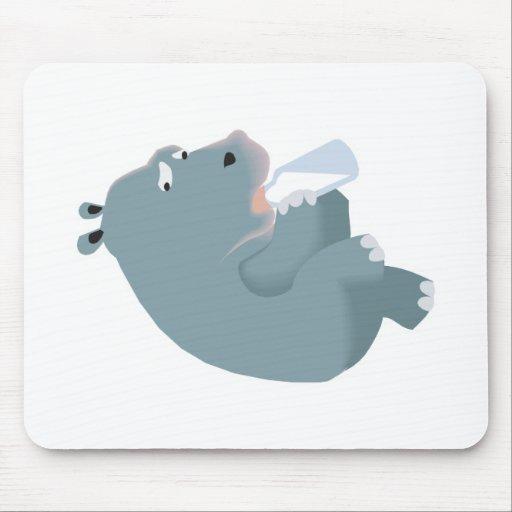 botella de consumición del hipopótamo del bebé tapete de raton
