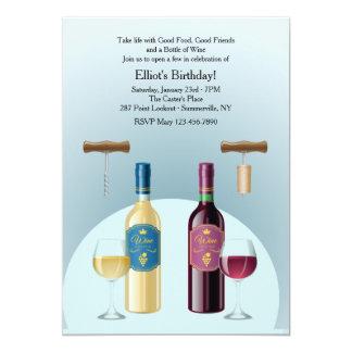 Botella de invitación del vino blanco rojo y