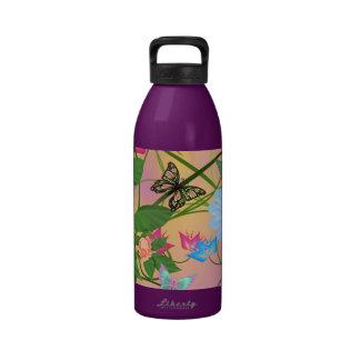 BOTELLA DE LA HIDRACIÓN - BUTTERFLIES/FLOWERS BOTELLA DE AGUA REUTILIZABLE