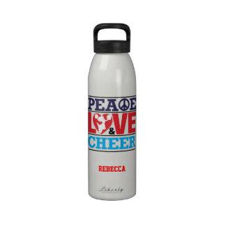 Botella de la libertad de la paz del amor y de la botella de agua reutilizable