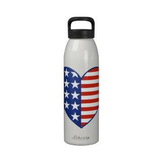 Botella de la libertad del corazón de la bandera d botella de agua