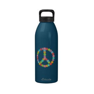 Botella de la libertad del signo de la paz de Flwr Botella De Agua Reutilizable