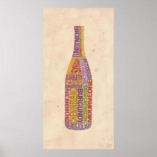 Botella de la palabra del vino de Borgoña Póster