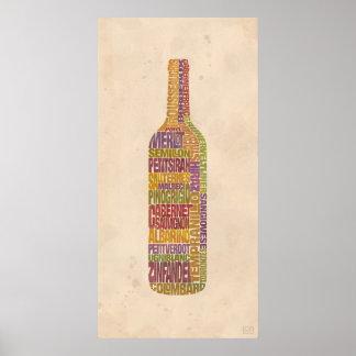 Botella de la palabra del vino de Burdeos Póster