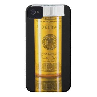 Botella de la prescripción con cientos billetes de iPhone 4 protector