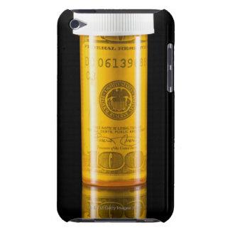 Botella de la prescripción con cientos billetes de iPod touch carcasa