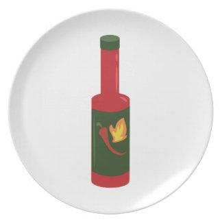 Botella de la salsa caliente platos de comidas