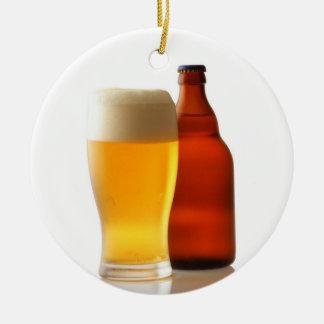 Botella de ornamento del navidad de la cerveza adorno navideño redondo de cerámica