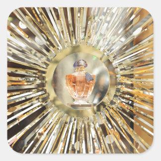 Botella de perfume pegatina cuadrada