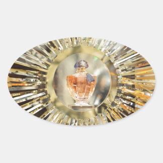 Botella de perfume pegatina ovalada