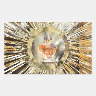 Botella de perfume pegatina rectangular
