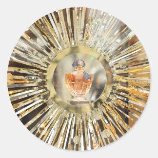 Botella de perfume pegatina redonda
