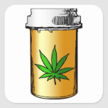 botella de píldora médica de los verdes colcomanias cuadradas