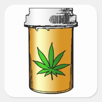 botella de píldora médica de los verdes pegatina cuadrada