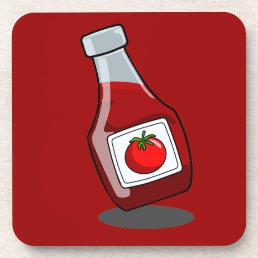 Botella de salsa de tomate del dibujo animado posavasos de bebida ...