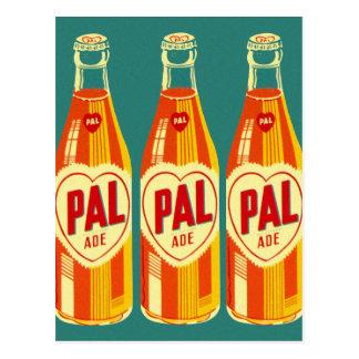 Botella de soda de PAL de las bebidas del vintage Postales