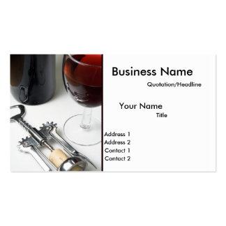 Botella de tarjetas de visita del vino