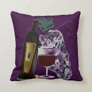 Botella de uvas del vino n (púrpuras) cojin