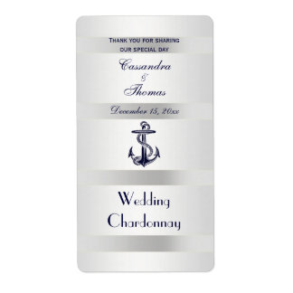 Botella de vino blanca de los azules marinos de la etiquetas de envío