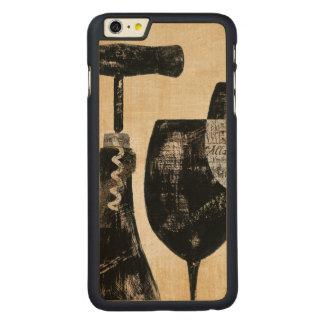 Botella de vino con dos vidrios funda de arce carved® para iPhone 6 plus