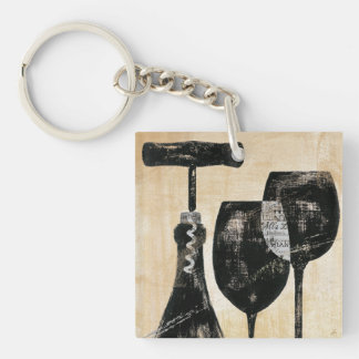 Botella de vino con dos vidrios llavero cuadrado acrílico a doble cara