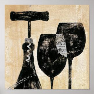 Botella de vino con dos vidrios póster