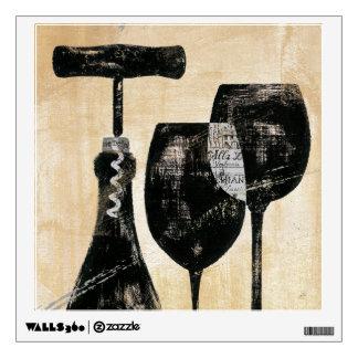 Botella de vino con dos vidrios vinilo decorativo