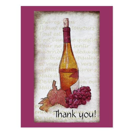 Botella de vino con las uvas - gracias tarjetas postales
