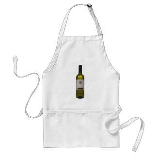Botella de vino de calidad con la etiqueta en blan delantales