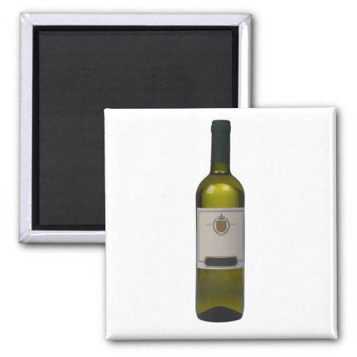 Botella de vino de calidad con la etiqueta en blan imán cuadrado