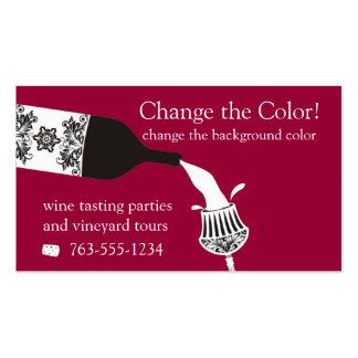 botella de vino de colada de la copa de vino tarjetas de visita