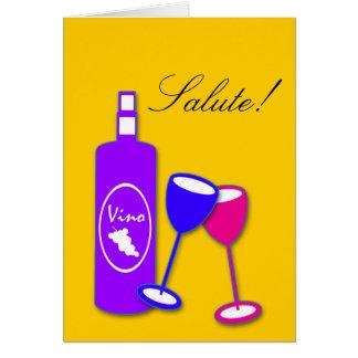 Botella de vino de la enhorabuena y tarjeta de los