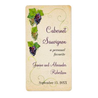 Botella de vino de la vid de uva etiquetas de envío