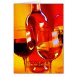 Botella de vino, de vidrios de rojo y de blanco in tarjetas