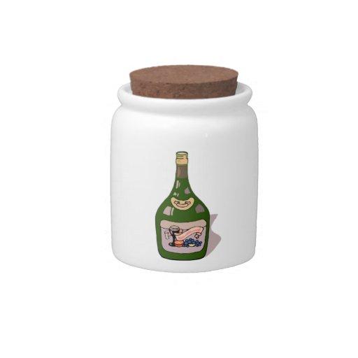 Botella de vino platos para caramelos