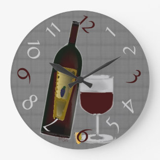 Botella de vino reloj redondo grande