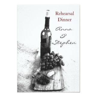 """Botella de vino, uvas, sacacorchos invitación 5"""" x 7"""""""