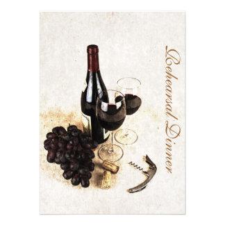 Botella de vino y uvas - cena del ensayo anuncios