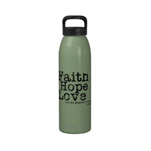 Botella del amor de la esperanza de la fe del vint botellas de beber