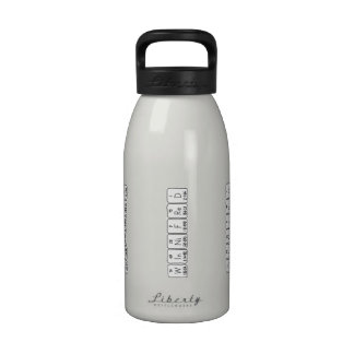 Botella del nombre de la tabla periódica de botella de agua reutilizable